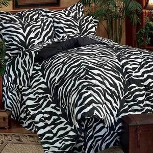 Zebra Print Black & White Bed Set